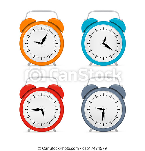 Alarm Clock Set Isolated on White Background  - csp17474579