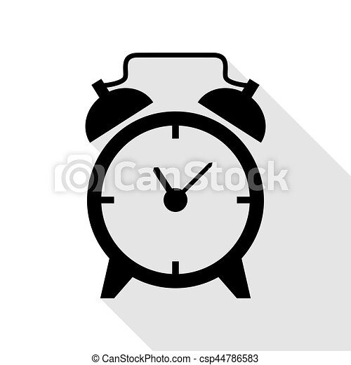 Alarm clock sign. Black icon with flat style shadow path. - csp44786583