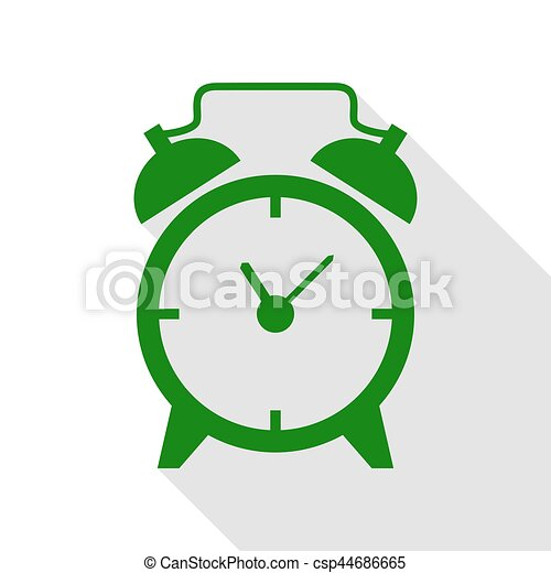 Alarm clock sign. Green icon with flat style shadow path. - csp44686665