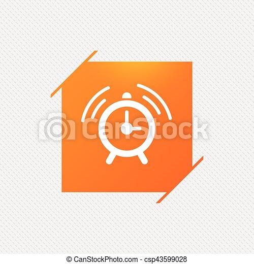 Alarm Clock Sign Icon Wake Up Alarm Symbol Orange Square Label On