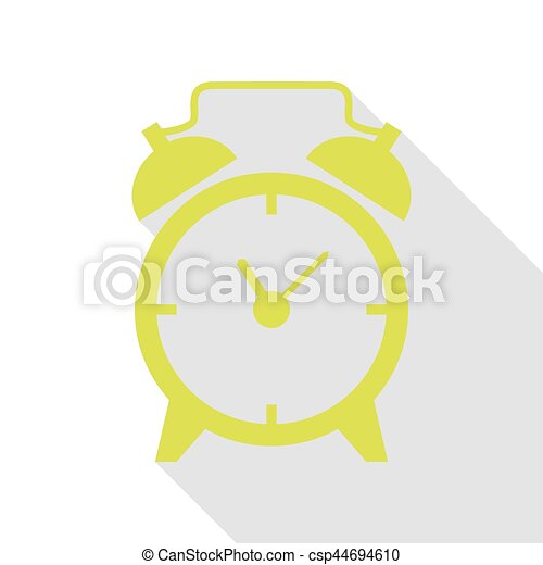 Alarm clock sign. Pear icon with flat style shadow path. - csp44694610