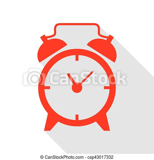 Alarm clock sign. Red icon with flat style shadow path. - csp43017332