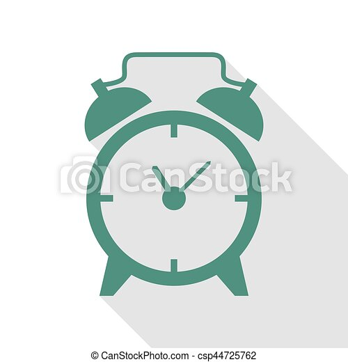 Alarm clock sign. Veridian icon with flat style shadow path. - csp44725762