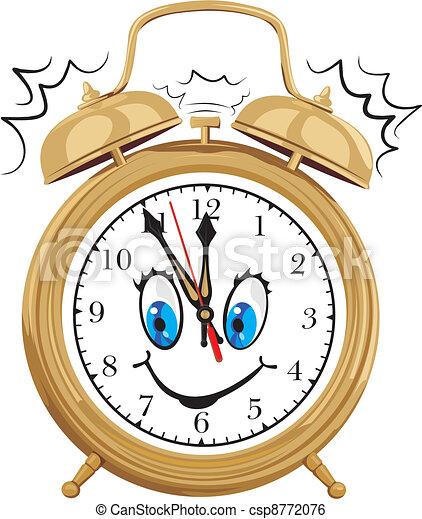 alarm clock - smiling clock face - csp8772076