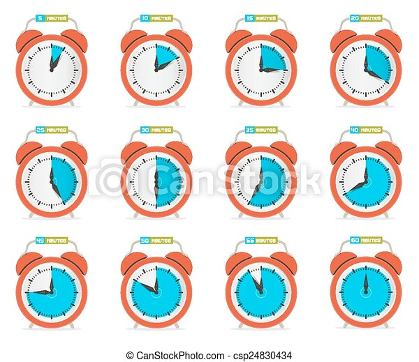 Alarm Clock - Time Countdown Vector Set Isolated on White - csp24830434