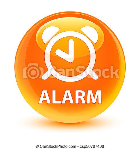 Alarm glassy orange round button - csp50787408