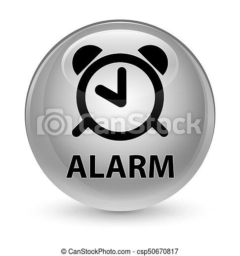 Alarm glassy white round button - csp50670817