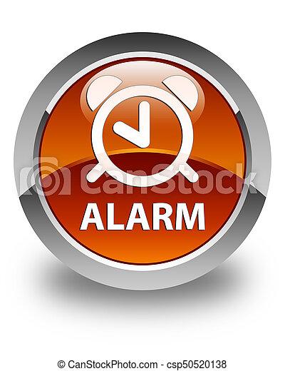Alarm glossy brown round button - csp50520138