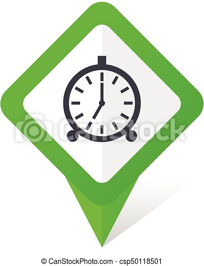 Alarm green square pointer vector icon in eps 10 on white background with shadow. - csp50118501