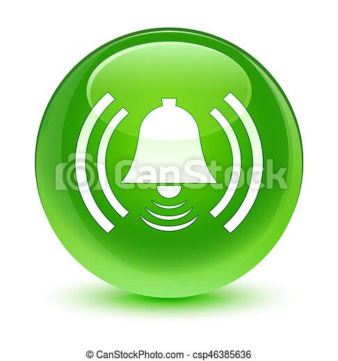 Alarm icon glassy green round button - csp46385636