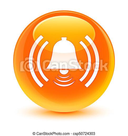 Alarm icon glassy orange round button - csp50724303