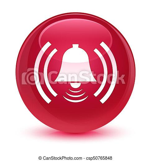 Alarm icon glassy pink round button - csp50765848