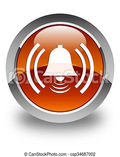 Alarm icon glossy brown round button - csp34687002