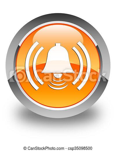 Alarm icon glossy orange round button - csp35098500