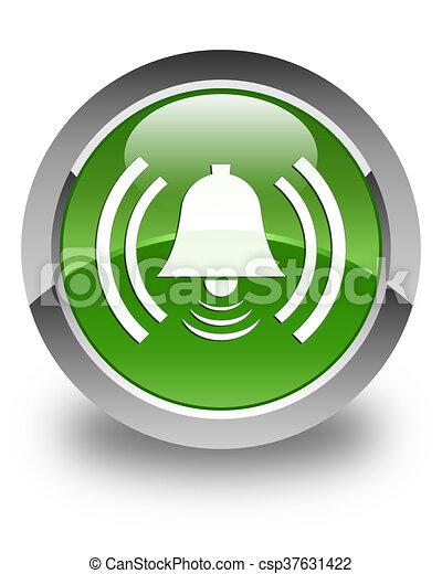 Alarm icon glossy soft green round button - csp37631422