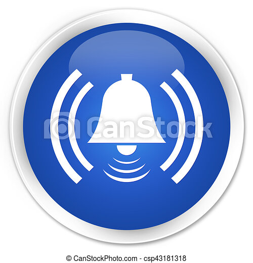 Alarm icon premium blue round button - csp43181318