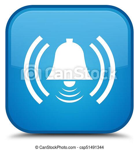 Alarm icon special cyan blue square button - csp51491344