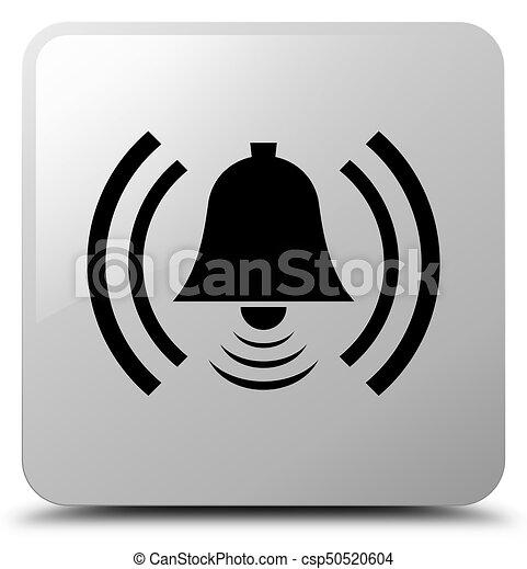Alarm icon white square button - csp50520604