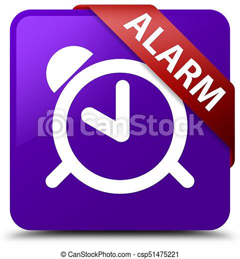 Alarm purple square button red ribbon in corner - csp51475221