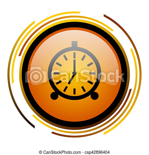 alarm round design orange glossy web icon - csp42896404