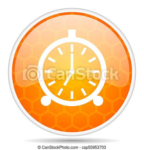 Alarm web icon. Round orange glossy internet button for webdesign. - csp55953703