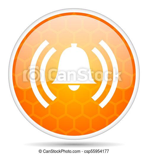 Alarm web icon. Round orange glossy internet button for webdesign. - csp55954177