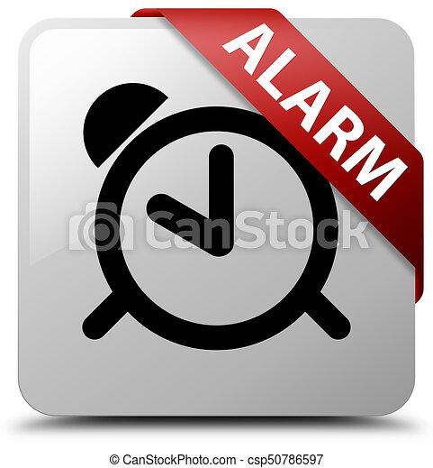 Alarm white square button red ribbon in corner - csp50786597
