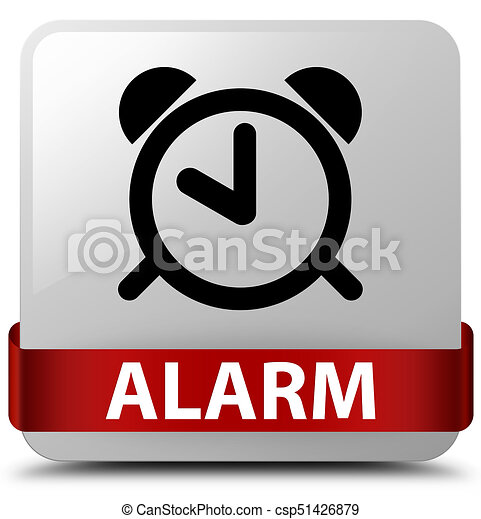Alarm white square button red ribbon in middle - csp51426879