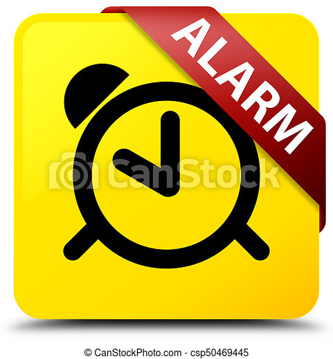 Alarm yellow square button red ribbon in corner - csp50469445