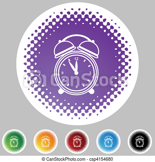 Reloj despertador a mediados de icono - csp4154680