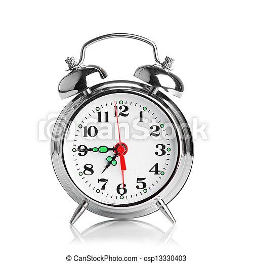 Reloj de alarma sobre fondo blanco - csp13330403