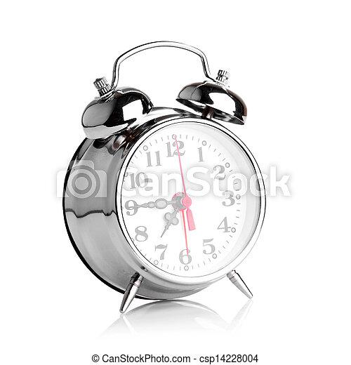 Reloj de alarma sobre fondo blanco - csp14228004