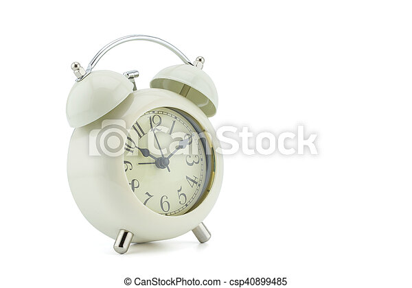 Reloj de alarma sobre fondo blanco - csp40899485