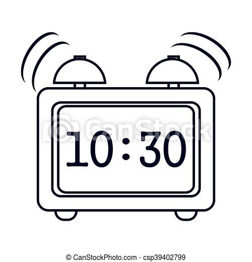 Alarma, icono, reloj digital. Plano, reloj, alarma,... vectores eps ...