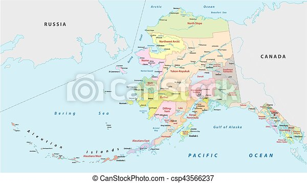 High Quality Alaska Administrative Map   Csp43566237