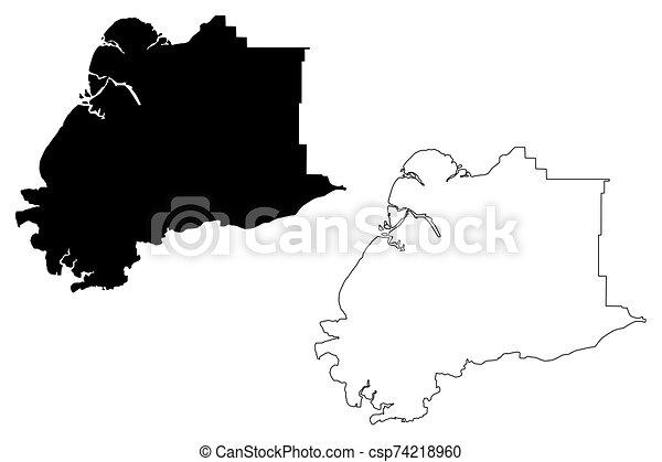 alaska, (boroughs, unido, vadear, mapa, estados unidos de américa, estados, ilustración, áreas, vector, américa, bosquejo, us), alaska, u..s.., área, garabato, hampton, kusilvak, census - csp74218960
