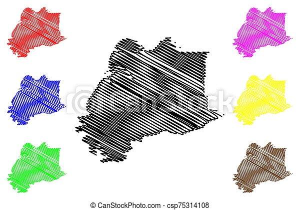 alaska, (boroughs, unido, vadear, mapa, estados unidos de américa, estados, ilustración, áreas, vector, américa, bosquejo, us), alaska, u..s.., área, garabato, hampton, kusilvak, census - csp75314108