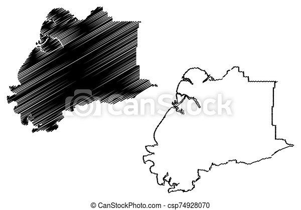 alaska, (boroughs, unido, vadear, mapa, estados unidos de américa, estados, ilustración, áreas, vector, américa, bosquejo, us), alaska, u..s.., área, garabato, hampton, kusilvak, census - csp74928070