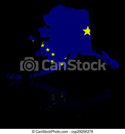 Alaska map flag with reflection illustration - csp29256378
