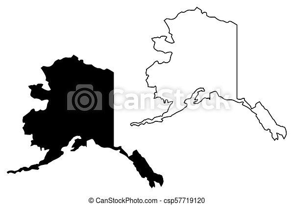 Alaska map vector - csp57719120