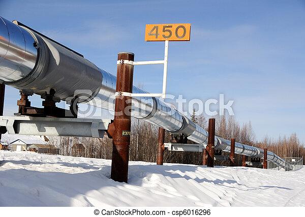 Alaska Oil Pipeline in Winter near Fairbanks - csp6016296