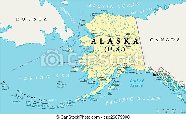 Us state alaska political map with capital juneau national eps alaska political map csp26673390 sciox Images