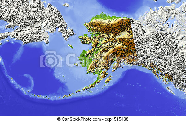 Alaska, shaded relief map - csp1515438