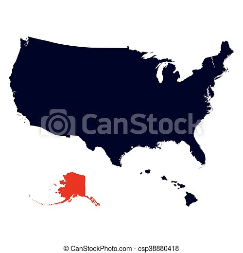 Alaska State In The United States Map Vector - Us-map-alaska-state