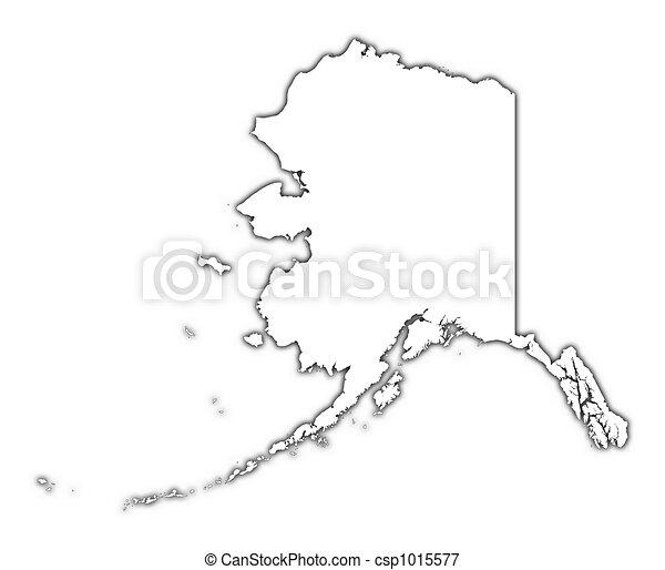 Stock Illustrations Of Alaska USA Outline Map With Shadow - Usa outline