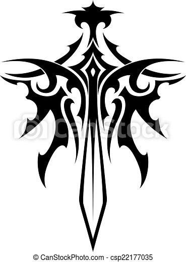 alato, affilato, spada, tatuaggio - csp22177035