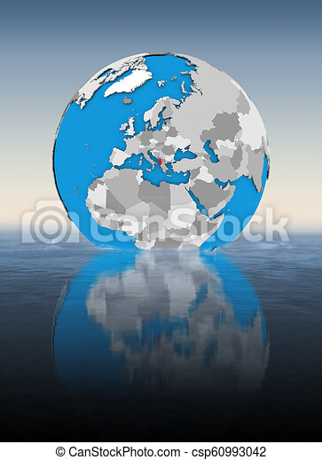 Albania on globe in water - csp60993042