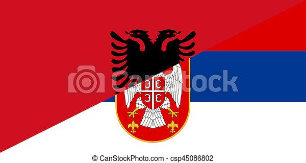 Albania Serbia Flag Albania Serbia Neighbour Countries Half - Albania flag