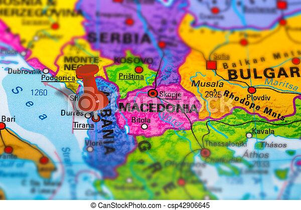 Albania tirana map Tirana in albania pinned on colorful stock