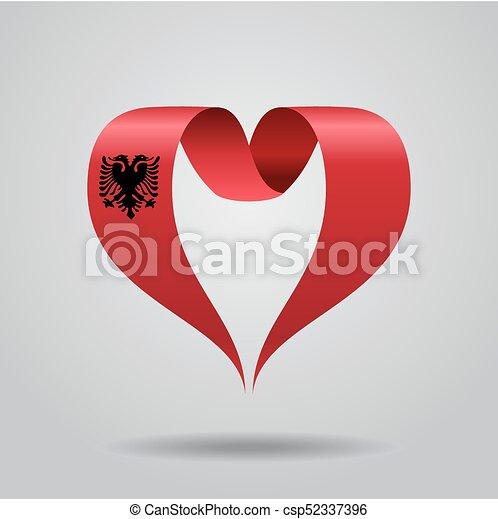 Albanian Flag Heartshaped Ribbon Vector Illustration Eps - Albanian flag